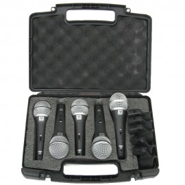 KIT C/ 5 MICROFONES DINÂMICO SUPER CARDIÓIDE VOCAL SUPERLUX PRA-C-5